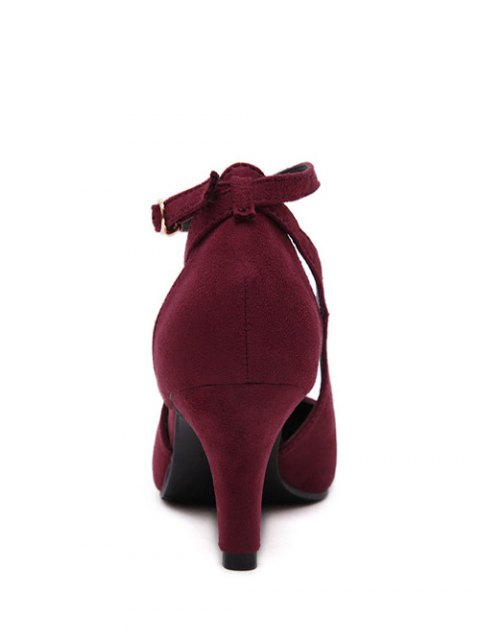lady Hollow Out Ankle Strap Stiletto Heel Pumps - WINE RED 37 Mobile