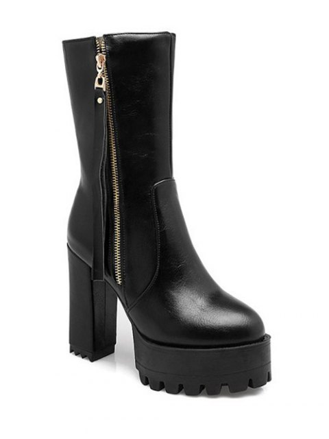 ladies Side Zip Chunky Heel Black Short Boots -   Mobile