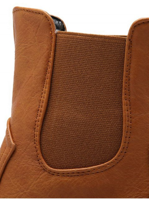 best Solid Color Elastic Band Short Boots - BROWN 39 Mobile