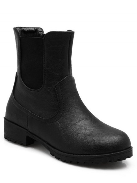 outfit Solid Color Elastic Band Short Boots - BLACK 37 Mobile