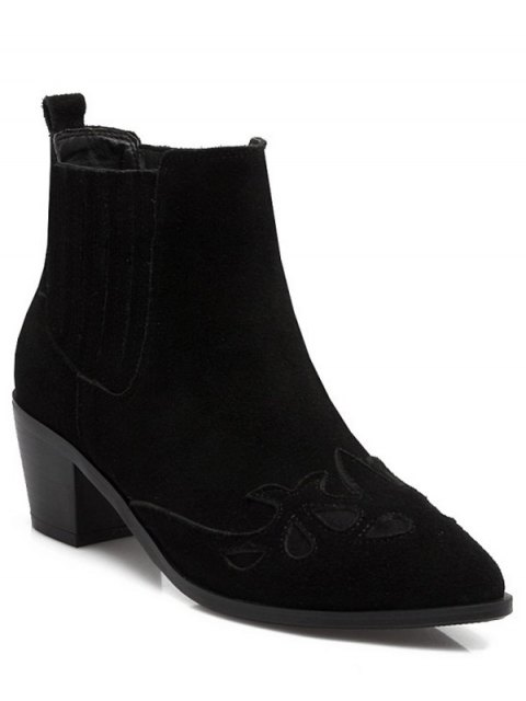 trendy Engraving Pointed Toe Chunky Heel Ankle Boots - BLACK 39 Mobile