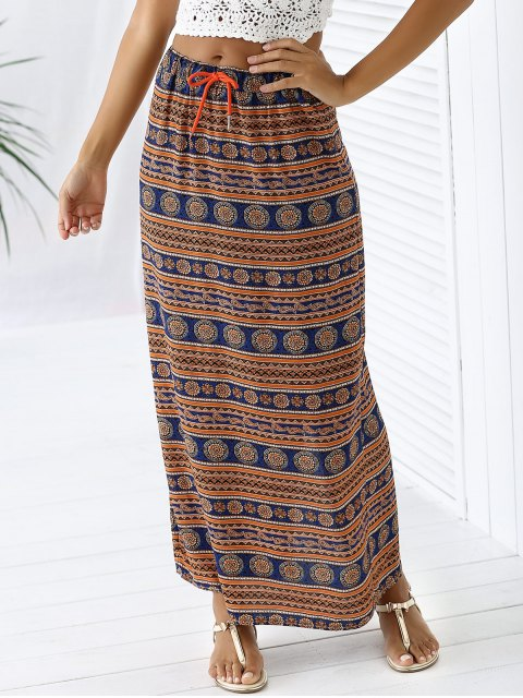 shops A-Line High Waist Double Side Printed Skirt - ORANGEPINK XL Mobile