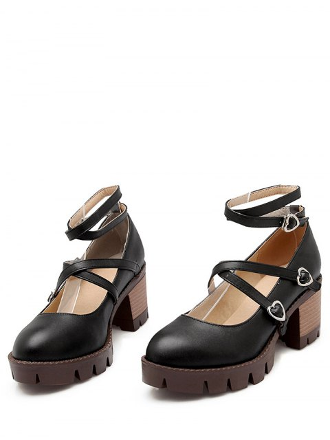 lady Cross-Strap Chunky Heel Pumps - BLACK 39 Mobile