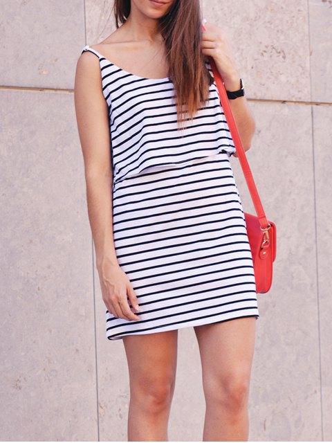 ladies Stripe Cami Dress - WHITE XL Mobile