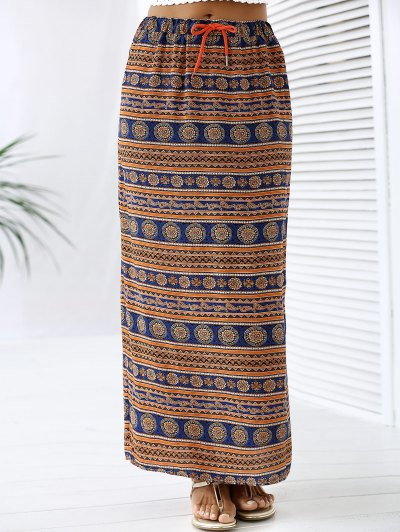 A-Line High Waist Double Side Printed Skirt - ORANGEPINK XL Mobile