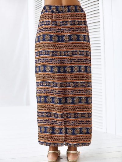 A-Line High Waist Double Side Printed Skirt - ORANGEPINK L Mobile