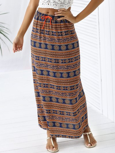 A-Line High Waist Double Side Printed Skirt - ORANGEPINK S Mobile
