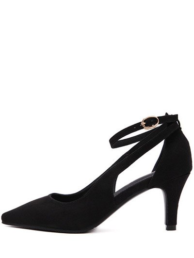 Hollow Out Ankle Strap Stiletto Heel Pumps - BLACK 38 Mobile