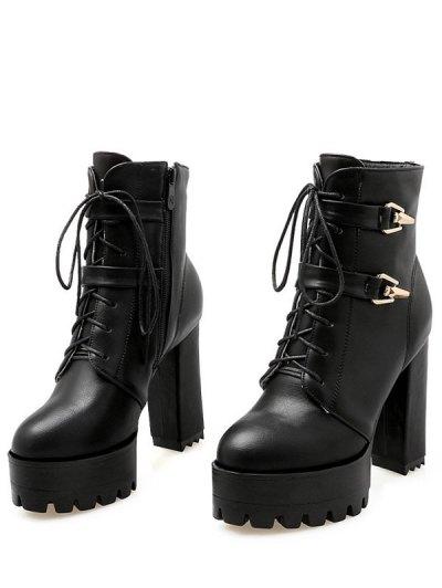 Metal Chunky Heel Black Short Boots - BLACK 39 Mobile