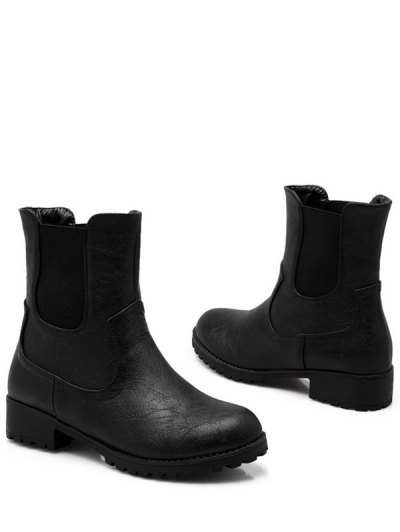 Solid Color Elastic Band Short Boots - BLACK 39 Mobile