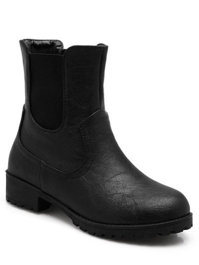 Solid Color Elastic Band Short Boots - BLACK 37 Mobile