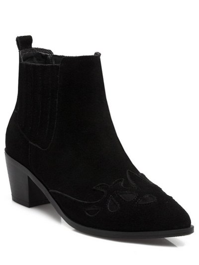 Engraving Pointed Toe Chunky Heel Ankle Boots - BLACK 39 Mobile