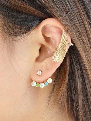 Rhinestone Angel Wing Earrings - Golden
