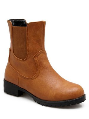 Solid Color Elastic Band Short Boots - Brown