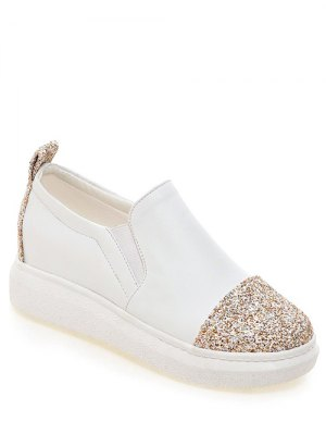 Sequins Slip-On Platform Shoes - White