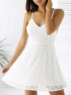 White Lace Spaghetti Straps A Line Dress - White