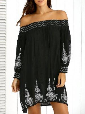 Off The Shoulder Embroidery Vintage Dress - Black