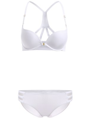 Front Closure Solid Color Push Up Bra Set - White