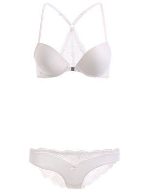 Lace Spliced Front Closure Bra Set - White