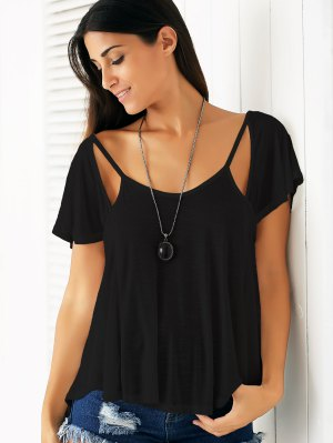 Cutout Scoop Neck Solid Color T-Shirt - Black
