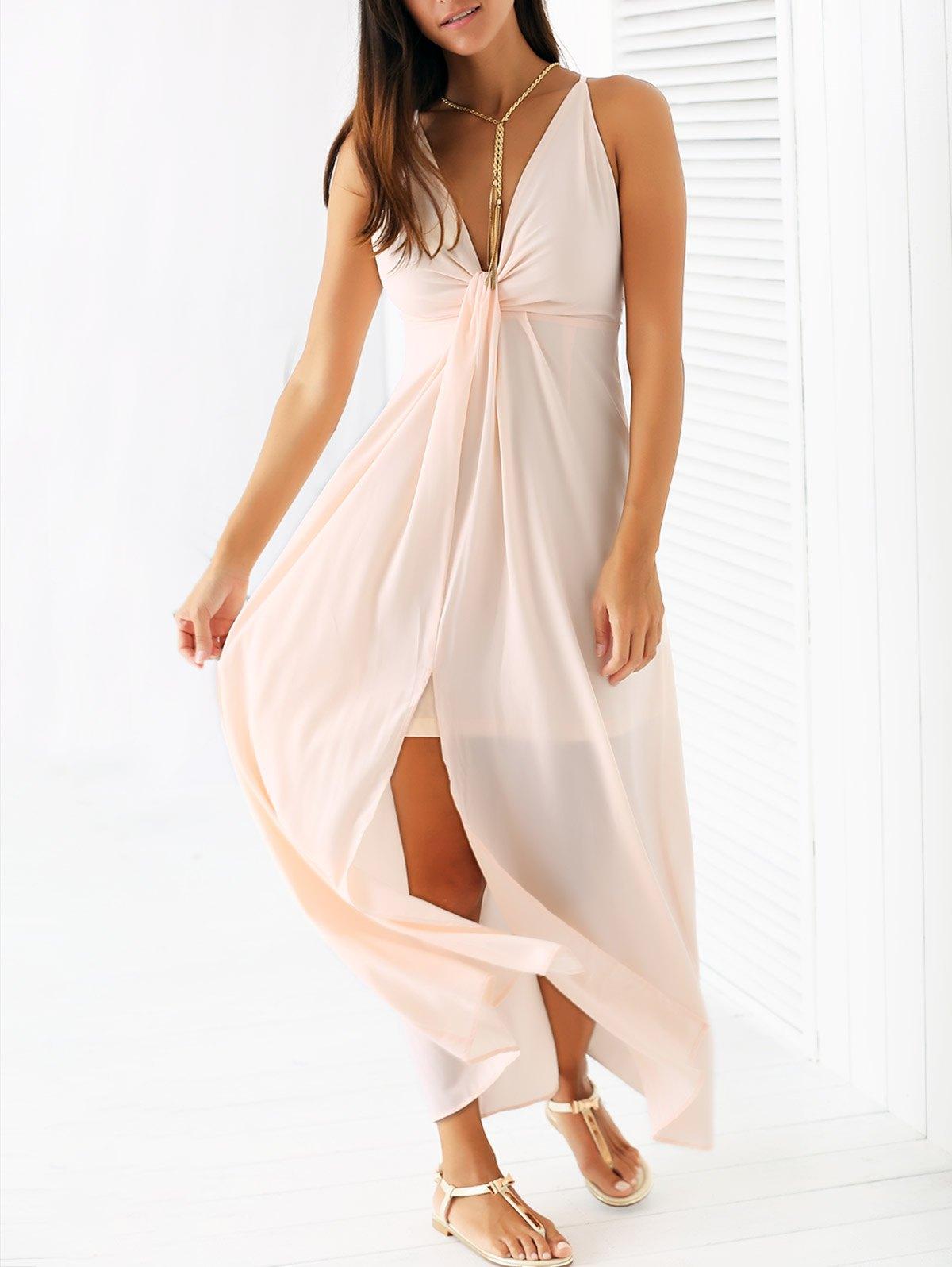 Spaghetti Strap Light Pink Chiffon Maxi Dress