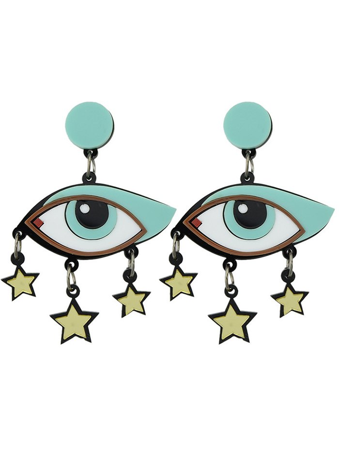Vintage Eyes Pentagram Earrings