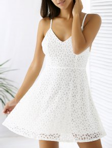 White Lace Spaghetti Straps A Line Dress