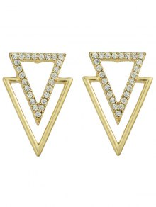 Rhinestone Hollowed Triangle Earrings