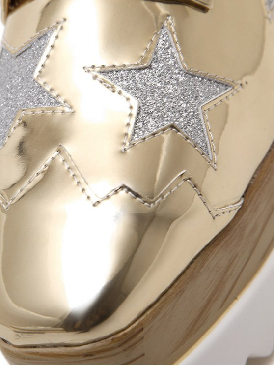 Square Toe Star Pattern Sequined Wedge Shoes - GOLDEN 39 Mobile