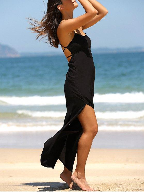 ladies High Slit Spaghetti Strap Solid Color Maxi Dress - BLACK L
