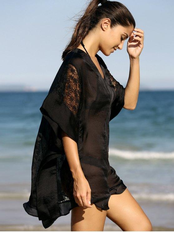shop Lace Splice Half Sleeve Chiffon Shift Dress - BLACK M