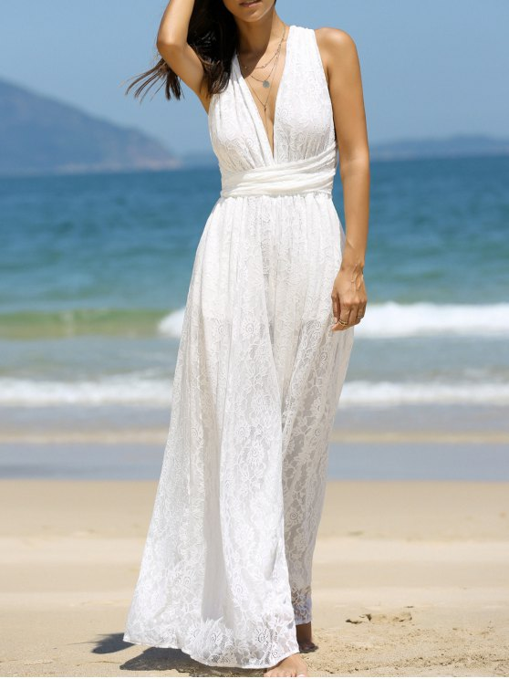 Backless Plunging Neck Jumpsuit - WHITE 2XL Mobile