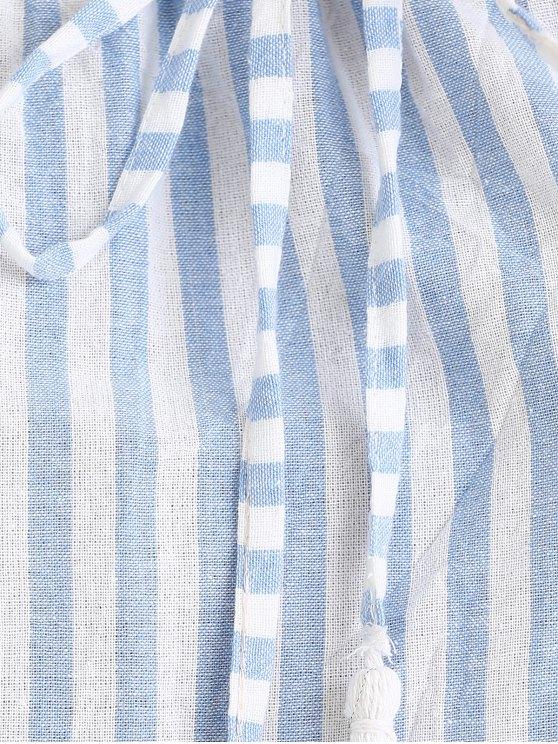Puff Sleeve Off The Shoulder Fringe Striped Blouse - BLUE S Mobile