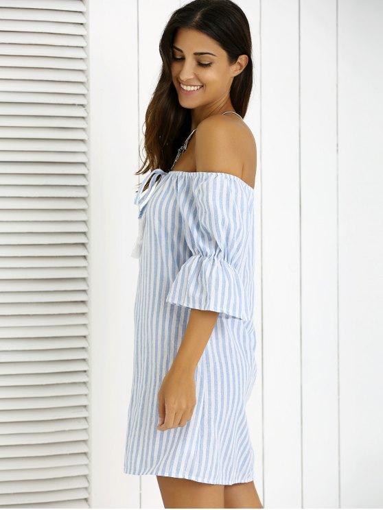 Striped Fringe Off The Shoulder Mini Dress - BLUE S Mobile