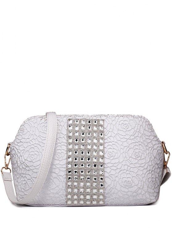 La bolsa de diamantes de imitación de grabación en relieve del hombro de encaje - Plata