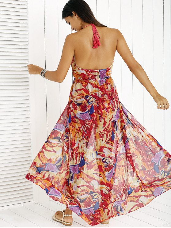 Printed Halter Backless Maxi Dress - RED M Mobile