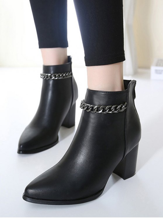Black Chain Pointed Toe Short Boots - BLACK 37 Mobile