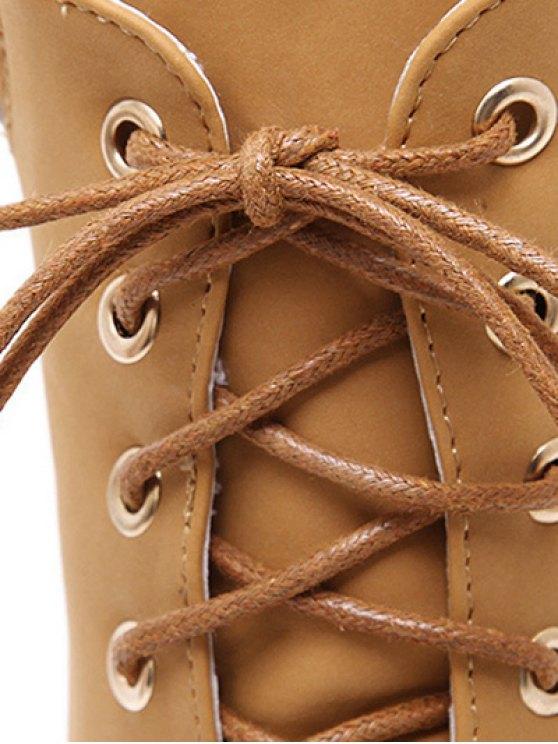 Chunky Heel Tie Up Platform Short Boots - LIGHT BROWN 38 Mobile