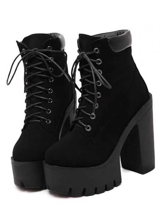 Lace-Up Black Round Toe Short Boots - BLACK 37 Mobile