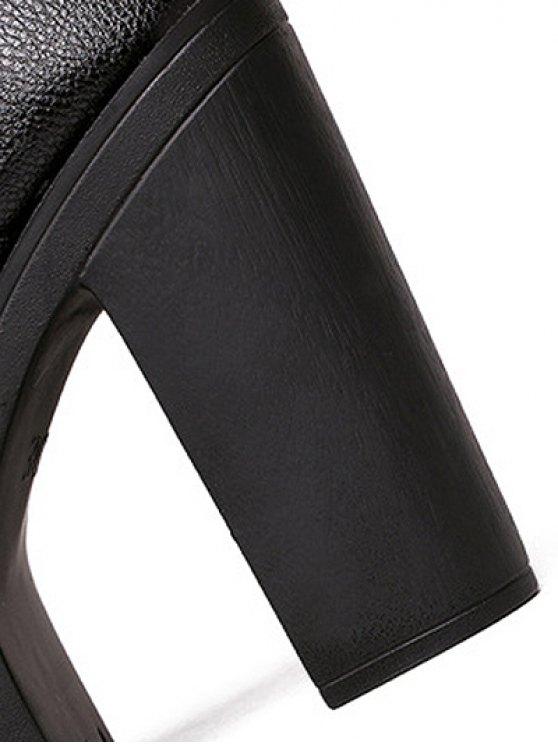 Zipper Platform Chunky Heel Pumps - BLACK 38 Mobile
