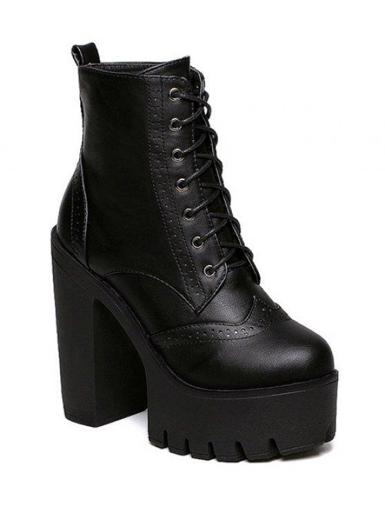 Zipper Black Lace-Up Bottes Courtes - Noir 37