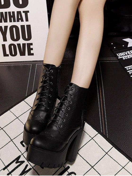 Zipper Black Lace-Up Short Boots - BLACK 39 Mobile
