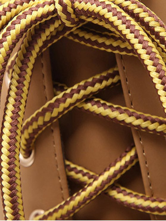 Tie Up Platform Zipper Mid-Calf Boots - LIGHT BROWN 37 Mobile