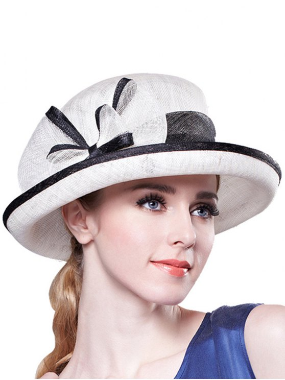 ladies Bowknot Linen Bowler Hat - WHITE