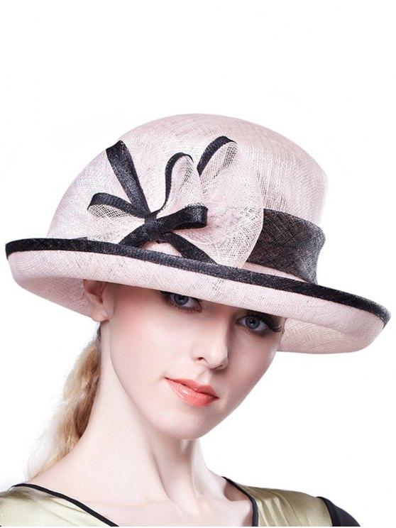 lady Bowknot Linen Bowler Hat - PINK