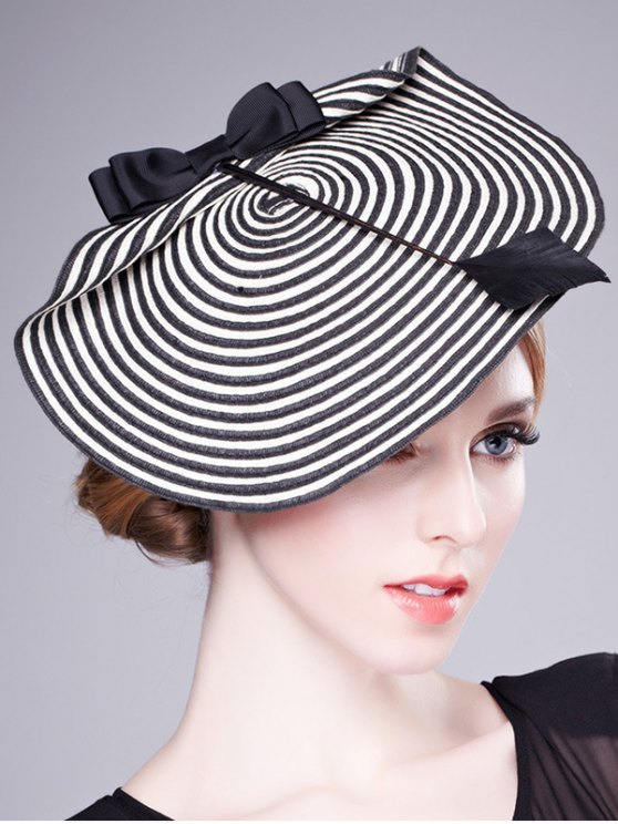 best Bowknot Stripe Woven Beret - WHITE AND BLACK