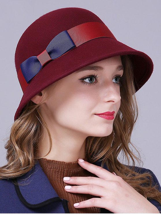 outfit Bowknot Wool Bucket Hat - CLARET