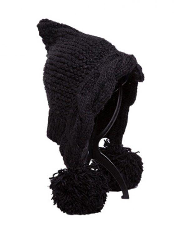 buy Ball Embellished Knitted Hat - BLACK