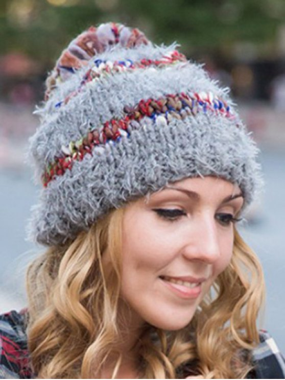 lady Ball Decorated Winter Knitted Hat - GRAY