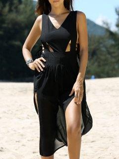 Cross Back V Neck Cutout Front Slit Dress - Black S